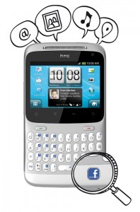 telefono movil con boton de facebook